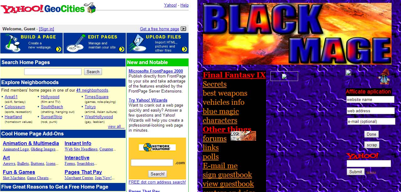 My first geocities website